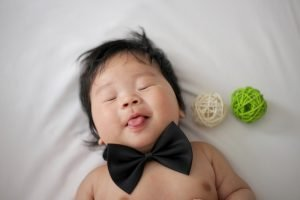 A Smiling Smart Sleeping Baby