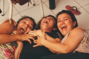 Laughing women in the effect of Nitrous Oxide